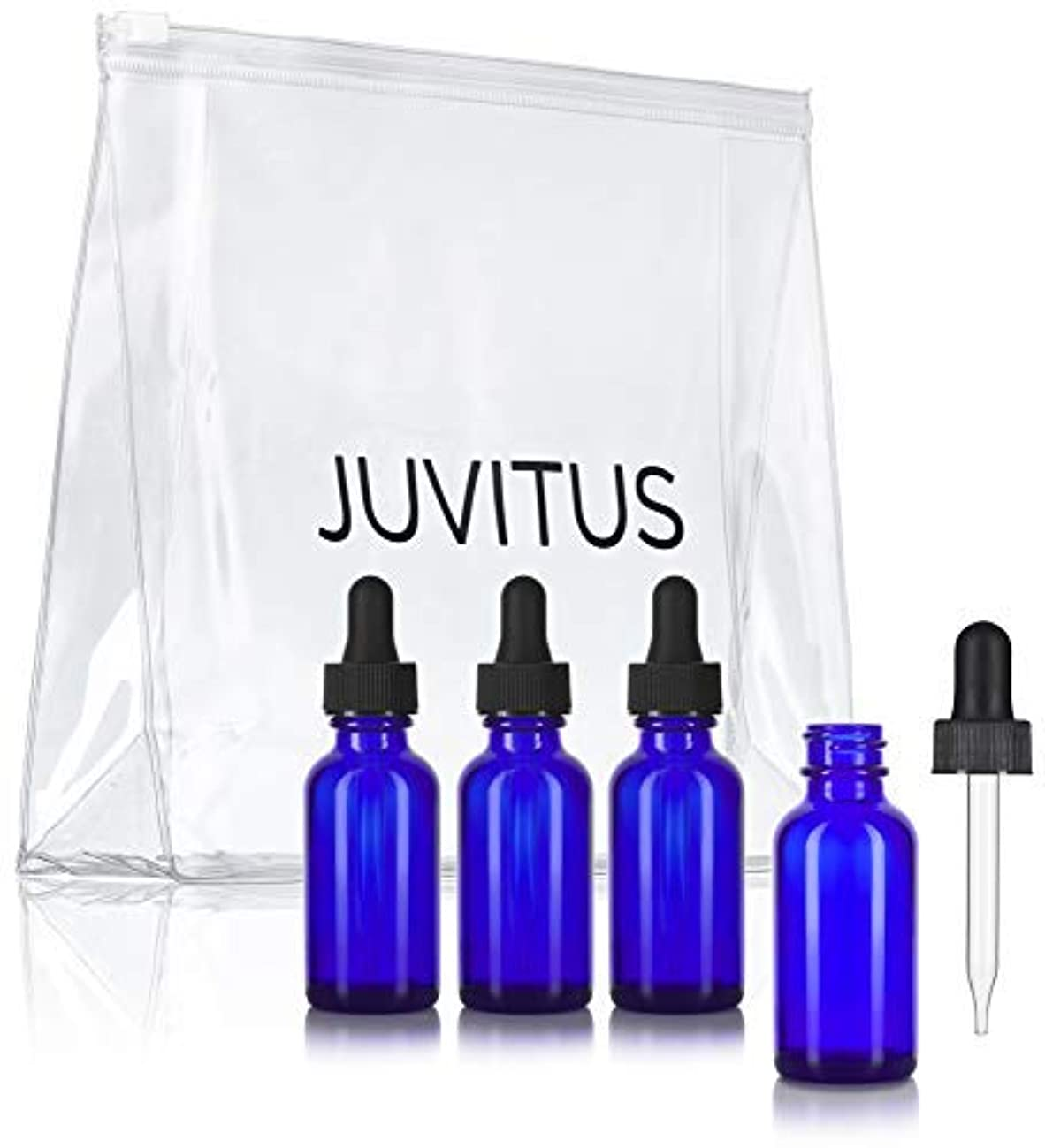 過敏なヒープ限りなくCobalt Blue Glass Boston Round Dropper Bottle - 1 oz (4 Pack) + Clear Travel Bag for Essential Oils, Aromatherapy...
