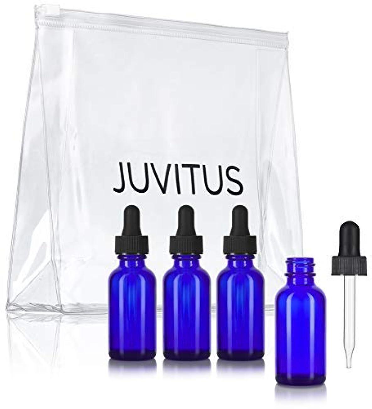 アコーシャツ筋Cobalt Blue Glass Boston Round Dropper Bottle - 1 oz (4 Pack) + Clear Travel Bag for Essential Oils, Aromatherapy...