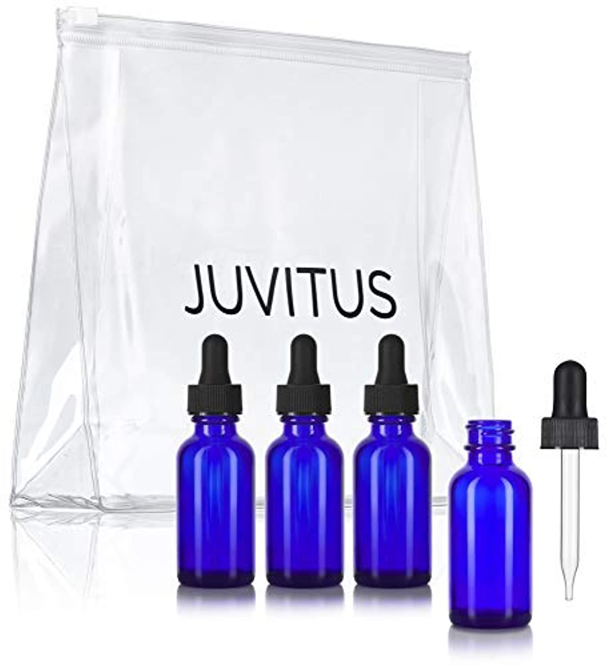 レギュラー予感分散Cobalt Blue Glass Boston Round Dropper Bottle - 1 oz (4 Pack) + Clear Travel Bag for Essential Oils, Aromatherapy...