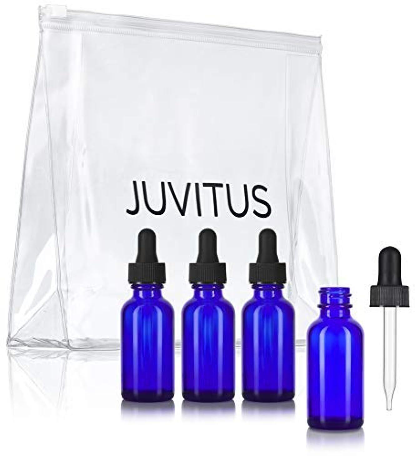 取り戻す人物テーブルCobalt Blue Glass Boston Round Dropper Bottle - 1 oz (4 Pack) + Clear Travel Bag for Essential Oils, Aromatherapy...