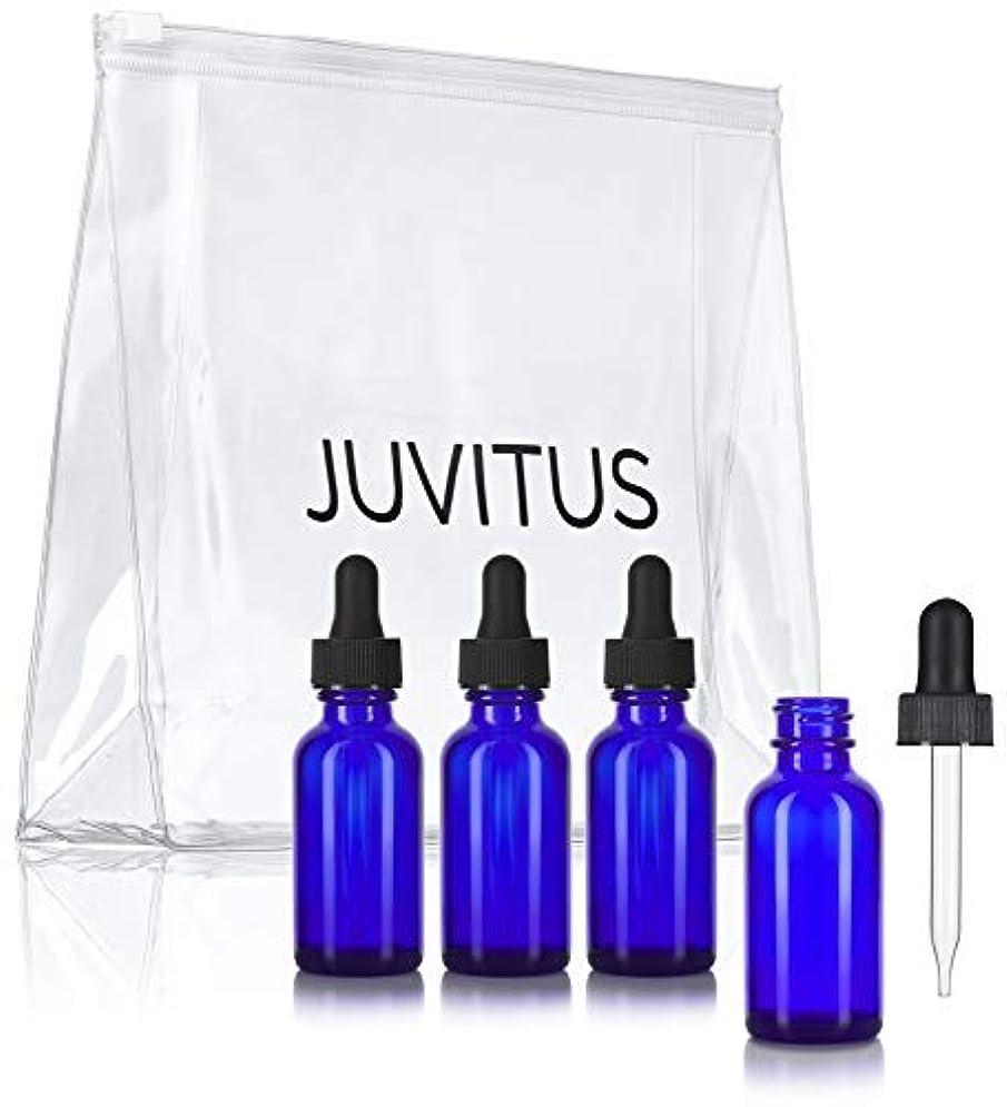 曲線コンサートシフトCobalt Blue Glass Boston Round Dropper Bottle - 1 oz (4 Pack) + Clear Travel Bag for Essential Oils, Aromatherapy...