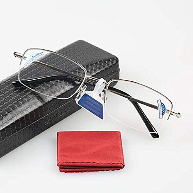 フル ? フレームの老眼鏡,金属製のフレーム 樹脂レンズ 軽量読者 眼鏡ケースと 快適なフィット感-銀 +2.5