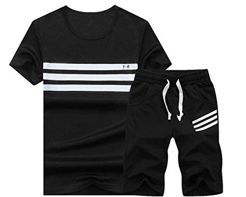 (コズーン) B39 メンズ ジャージ 上下 セット 半袖 tシャツ ハーフパンツ 速乾 スポーツ トレーニング ルームウェア 大きいサイズ メンズファッション (2XL, 02 黒 上下セット)