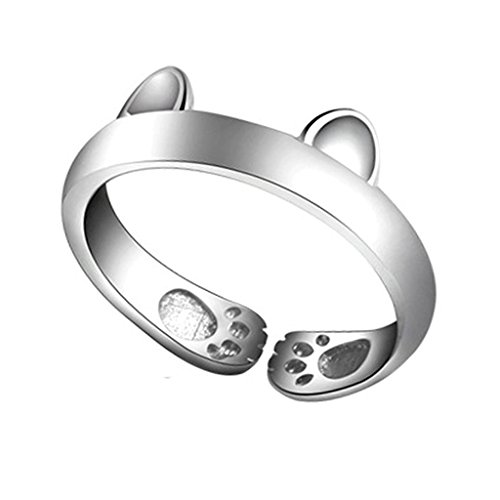 [比翼堂] レディース 指輪 リング フリーサイズ「 最高 に かわいい 子 猫 指輪 」 純銀製 s925 プラチナコーティング 最高級フランネルケース付き ギフト梱包済み 磨きクロス付き