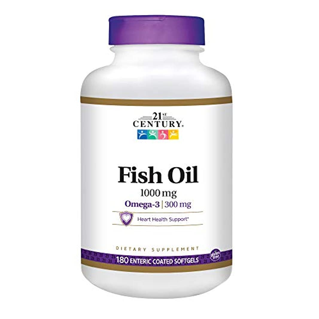 勝利生き返らせる確認21st Century Health Care, Fish Oil, 1000 mg, 180 Enteric Coated Softgels