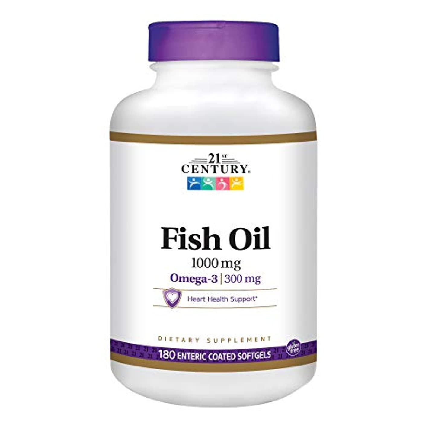 揺れる単位カプラー21st Century Health Care, Fish Oil, 1000 mg, 180 Enteric Coated Softgels