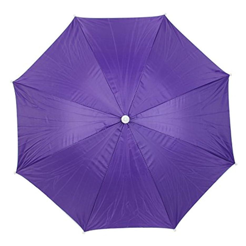 uxcell 傘帽子 釣り傘ハット ストレッチヘッドバンド 折りたたみ ダークパープル シルバーグレー