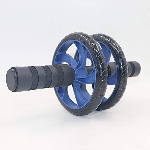 フィットネストレーニングトレーニング機器 泡ハンドル付き腹部エクササイズローラーデュアルホイール -...
