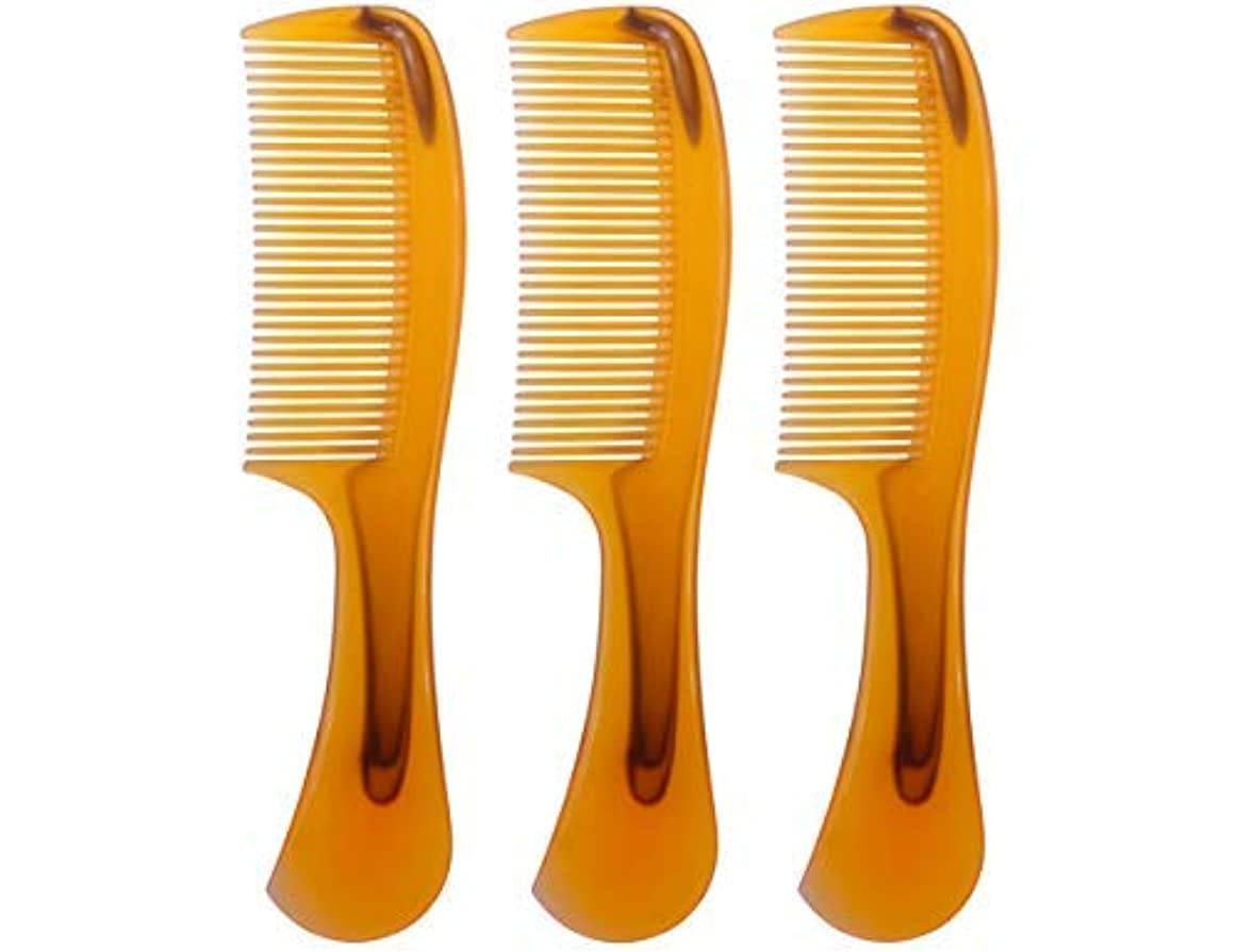 辛い蒸一目LBY 3pcs 16 cm Hair Comb Round Handle Comb Hair Care Comb Plastic Yellow [並行輸入品]