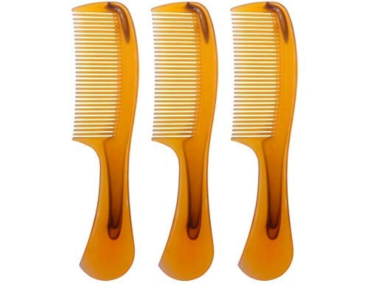 寮反抗心理的LBY 3pcs 16 cm Hair Comb Round Handle Comb Hair Care Comb Plastic Yellow [並行輸入品]