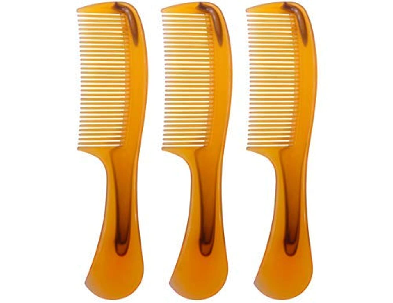 副長々とポーズLBY 3pcs 16 cm Hair Comb Round Handle Comb Hair Care Comb Plastic Yellow [並行輸入品]