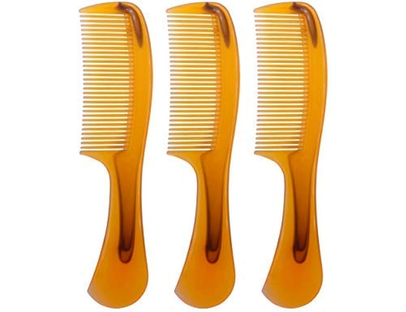 LBY 3pcs 16 cm Hair Comb Round Handle Comb Hair Care Comb Plastic Yellow [並行輸入品]