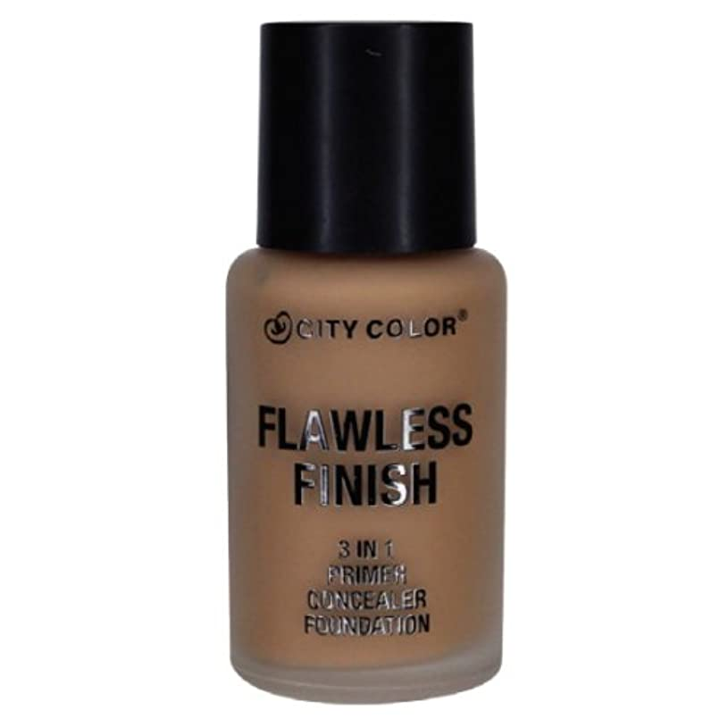 侵略床を掃除するライフル(3 Pack) CITY COLOR Flawless Finish 3 In 1 Primer, Concealer Foundation - Mocha (並行輸入品)