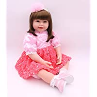 PursueベビーキュートFloppyボディLifelike幼児用プリンセス人形ロングヘアCharlene、24インチReal Looking Weighted Toddler Girl Doll Snuggle子供ギフト