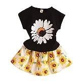 LittleSpring夏 ガールズ 女の子 ひまわり 花柄 半袖tシャツ&総柄スカート セットアップ ホワイト140