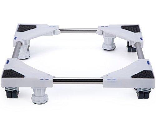 SMONTER 洗濯機 台 昇降可能の洗濯機 置き台、4回転ラバーホイール 4本の調節可能な強力な足 防止騒音対策 減音効果