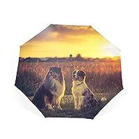 夏 折りたたみ 軽量 283g UVカット太陽/防水 傘 クリエイティブポケット傘 持ち運びが簡単 雨の日 可愛い ファッション お出かけ アウトドア キャンプ 防風 バッグ付き 女性と男性の傘 3折りたたみ傘 ミニ オーストラリアンシェパード