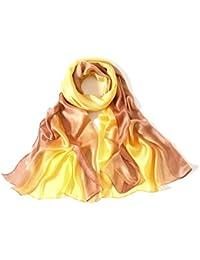 (エイークエーナ)Aqueena レデイーズ 光沢のあるスカーフ UVカット焼き止め大判マフラー (イエローブラウン)
