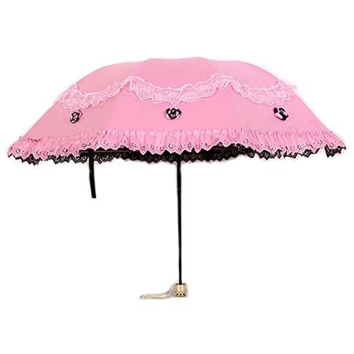 (アイランドバナナ)island banana レディース 晴雨兼用 折りたたみ 傘 フリル UVカット ふくろ付き (ME134) (ピンク)