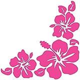 ハイビスカス Hibiscus 南国 花形 ハワイアン hawaii フラワー コーナー ステッカー シール (デカール) ホットピンク (右)