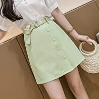 HJJUANAU Summer Little Daisy Buttons Decoration High-waisted A-line Short Skirt with Belt (Color : Green, Size : M)