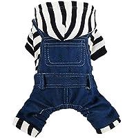 LYgMV ペットの犬猫服、秋と冬の柔らかい暖かいジャケット、青と白の縞模様のフード付きのよだれかけ、スタイリッシュで美しいペット服 (Size : L)