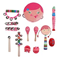 P Prettyia パーカッションセット 子供 おもちゃ シェーカーベル 打楽器 音楽玩具 全2色 13点セット - ピンク