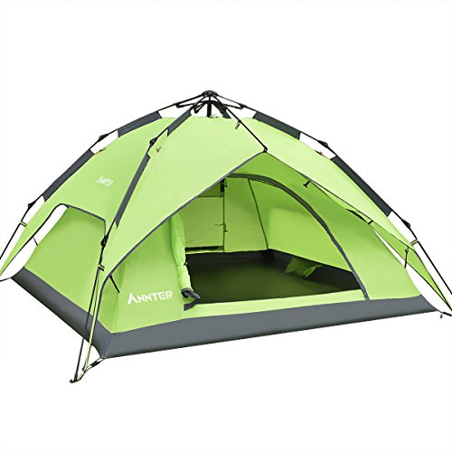 ANNTER ワンタッチテント テント 3~4人用 設営簡単 防災用 2Way キャンプテント 撥水加工 紫外線防止 登山 折りたたみ 防水 通気性 アウトドア 秒速設営 3色選択可能 (グリーン 改良版)