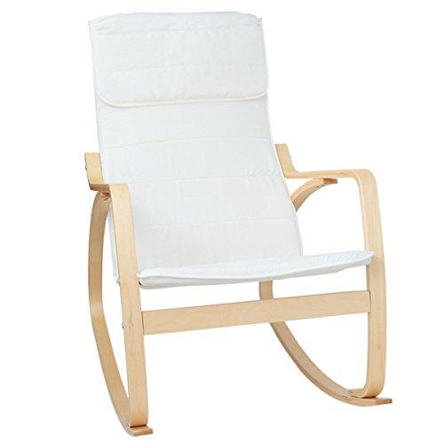 ロッキングチェア リラックス パーソナルチェア 木製 (ホワイト)