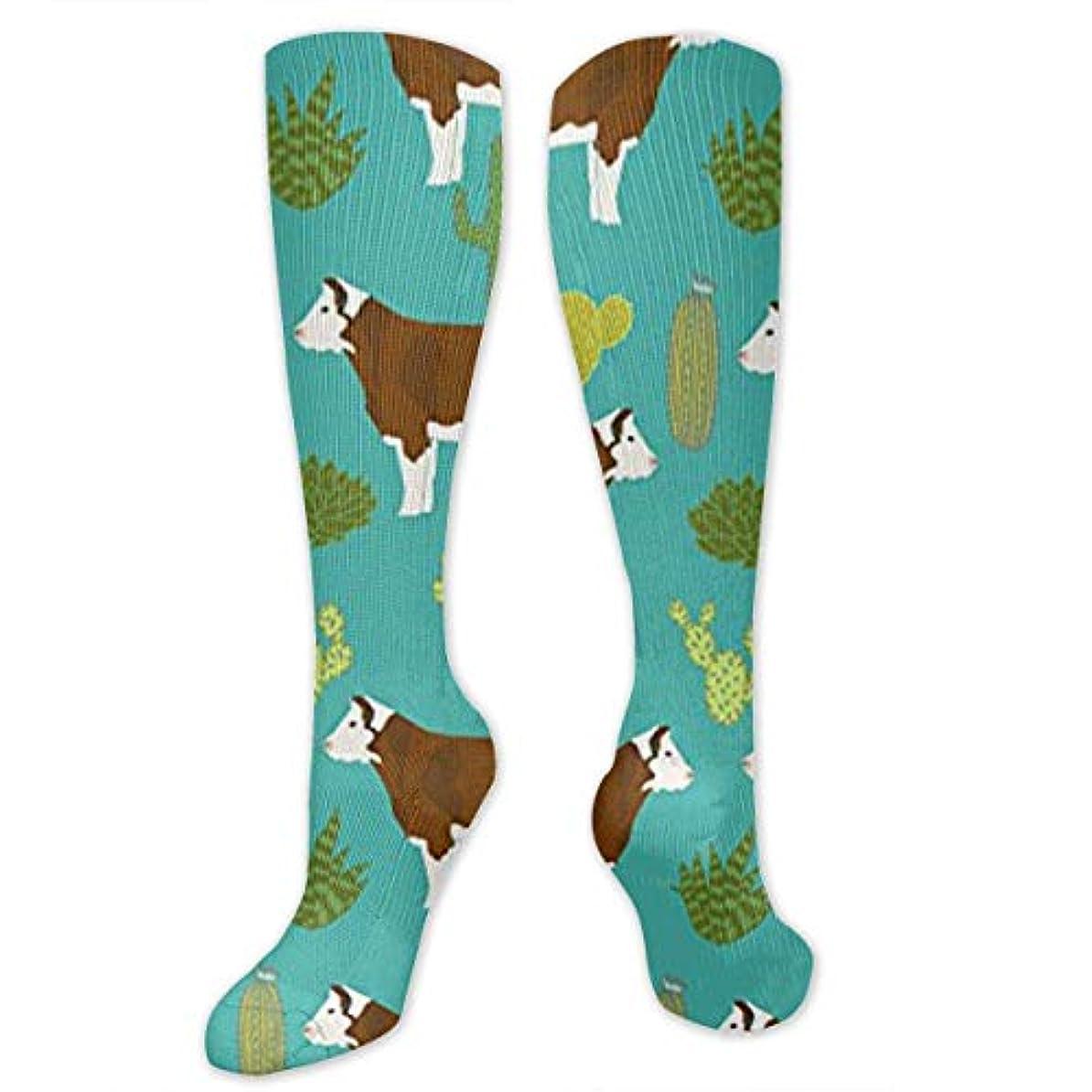 指令祖母装備する靴下,ストッキング,野生のジョーカー,実際,秋の本質,冬必須,サマーウェア&RBXAA Cow Cattle Cactus Socks Women's Winter Cotton Long Tube Socks Knee...