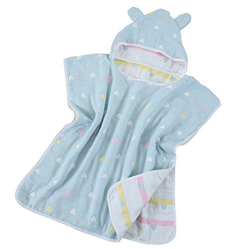 Hapipana 綿100% 6重ガーゼ キッズ 可愛い フード付きバスタオル マント バスローブ ポンチョ おくるみ 寝袋 プールビーチ 冷房 対策 出産お祝い ギフト (男の赤ちゃん)
