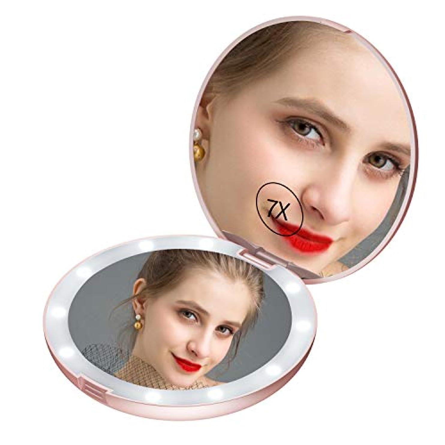 ledミラー コンパクト led鏡 手鏡 コンパクト 女優ミラー 携帯 女優ミラー コンパクト 両面コンパクトミラー 化粧鏡 7倍拡大鏡 折りたたみミラー コンパクトミラー Gospire
