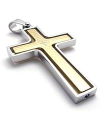 [テメゴ ジュエリー]TEMEGO Jewelry メンズステンレススチールヴィンテージ回転式ペンダントゴシッククロス主の祈りのネックレス、ゴールデンシルバー[インポート]