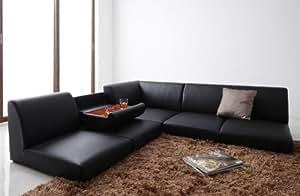 フロアコーナーソファ【Tino】ティーノ  《ミニテーブル付き、木枠・合皮仕様》 (ブラック)