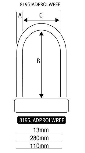 Master Lock シリンダー式U-ロック ブラケット付 鍵4本付き ブラック 13x280x110mm 8195JADPROLWREF