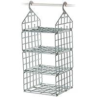 クローゼット 仕切り 収納棚 収納ラック ハンギング棚 折り畳み式 吊り下げ 創意 衣類収納 整理棚 置物棚 籠 (A#, 北ヨーロッパクブルー)