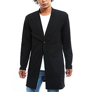 インプローブス ロング丈 カーディガン コーディガン メンズ ブラック XL サイズ