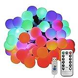 Oblong-HK 50 LED ストリングライト 5m 8種類の点灯モード リモコン USB IP44防水 マルチカラー ボール型 飾り イルミネーションライト パーティー 結婚式 イベント クリスマス