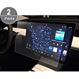 """[2 PCS] Control Screen Protector Tesla Model 3 15"""" HD Crystal Clear in-Dash Navigation P50 P65 P80 P80D Touch PET Plastic High Clarity Protective Film"""