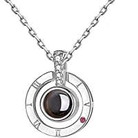 Feili Woman Necklace Love Memory 925 Silver Projection Pendant 100 Languages I Love You to Lover Grilfriend