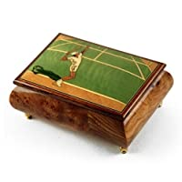 スポーツテーマWood Inlay :テニス – Collectible 18 Note Musicalジュエリーボックス 227. Light My Fire ゴールド MBA62TENNIS-18NOTE
