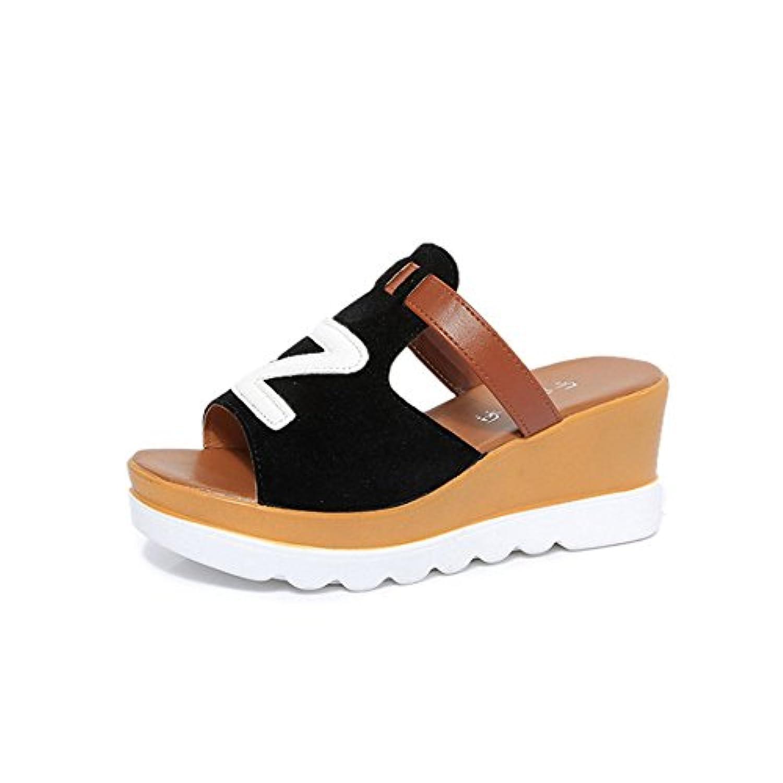 candy88女性のスリッパ 夏の滑り止め ヒールのウェッジ 厚い底のサンダル ファッションビーチの靴 美脚人気 ビーチサンダル 海歩きやすい 旅行 ホーム 快適 涼しい 綺麗 (36(23cm), ブラック)