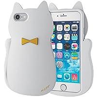 エレコム iPhone7ケース [iPhone8対応] シリコンケース ガール ネコ シリコンケース ネコ(ホワイト) PM-A16MSCG02