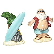 Cosmos Gifts 10702 Santa with Surfboard Salt and Pepper Set, 8.9cm