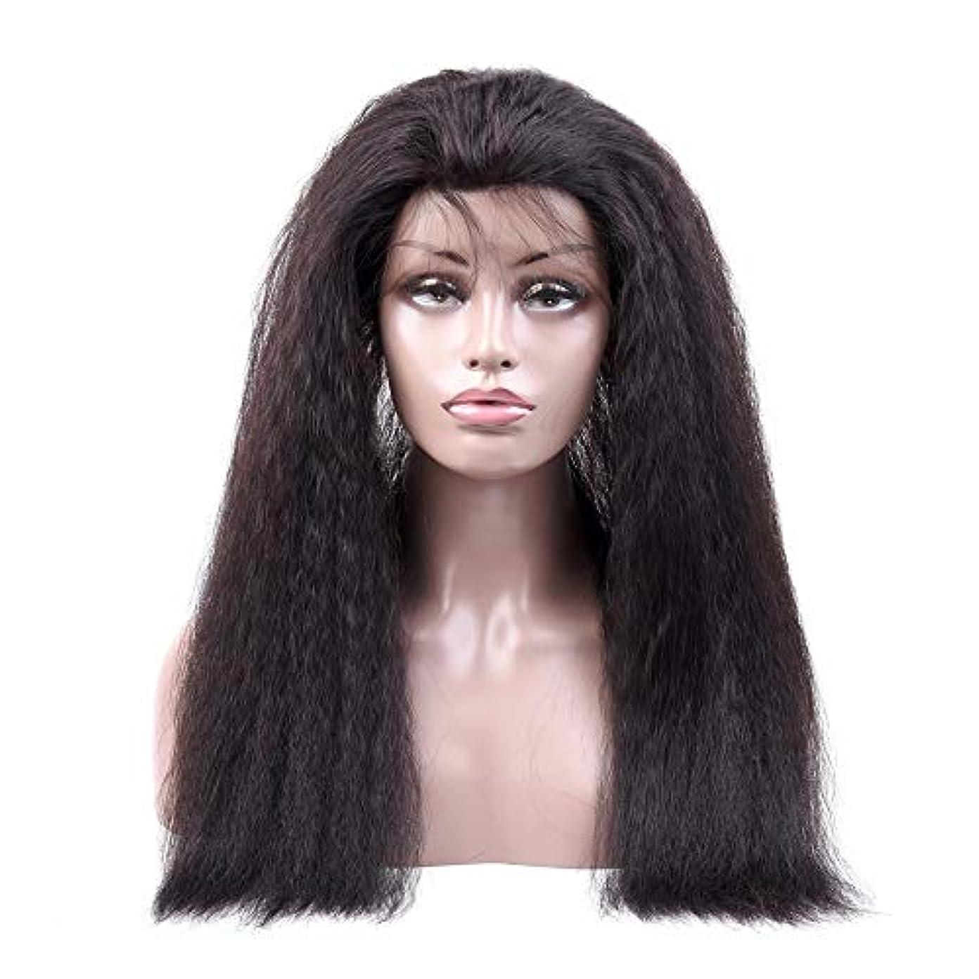若いそのようなバルクJULYTER 変態ストレート人間の髪の毛のかつら360レース前頭かつら#1B生物着色 (色 : 黒, サイズ : 12 inch)