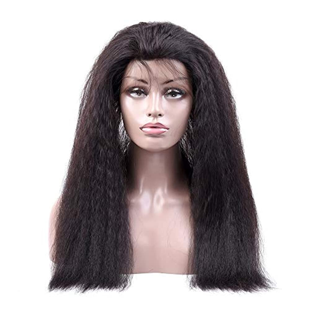 貧困スーツ意図するJULYTER 変態ストレート人間の髪の毛のかつら360レース前頭かつら#1B生物着色 (色 : 黒, サイズ : 12 inch)