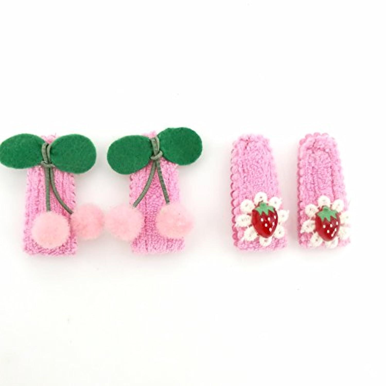 ベビー マジックテープ チェリー いちご パッチンどめ セット(ピンク)