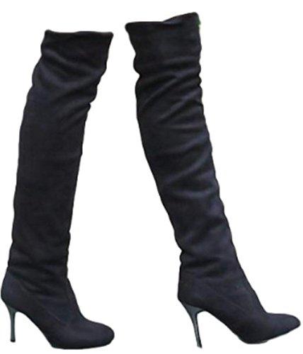 (シャンディニー) Chandeny スエード ロング ブーツ レディース ニーハイ ピンヒール 大きいサイズ あり 14804 26.0 cm ブラック
