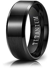 M MOOHAM Titanium Rings Silver Blue Gold Black 4mm 6mm 8mm 10mm Brushed Beveled Polished Edge Mens Wedding Bands for Him Size 5-13 Comfort Fit
