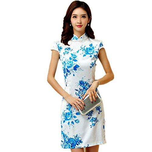 [해외]반팔 여성 원피스 미니 길이 치파오 꽃 무늬 예쁘게 블루 M L LL 3L 4L 큰 사이즈/Short Sleeve Women`s Dress Mini Loft Chinese Dress Floral Pattern Clean Me Blue M L LL 3L 4 L Large Size